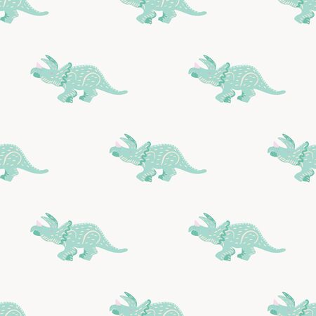 Turquoise dinosaur simple seamless pattern on pink. Adorable wild animal repeat ornaments. Colored vector illustration in flat cartoon style.