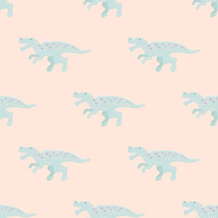Cute turquoise dinosaur simple seamless pattern on blush pink. Adorable wild animal repeat ornaments. Colored vector illustration in flat cartoon style.