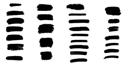 Bundle of black brush strokes, paint traces, lines, smudges, smears, stains, scribbles isolated on white background. Vector illustration.
