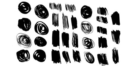 Collection of black brush strokes, paint traces, lines, smudges, smears, stains, scribbles isolated on white background. Vector illustration. Illustration