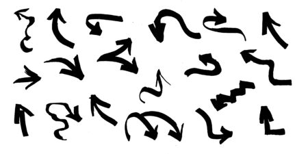 Graffiti arrows set with black brush strokes, paint traces, lines, smudges, smears, stains, scribbles isolated on white background. Vector illustration.