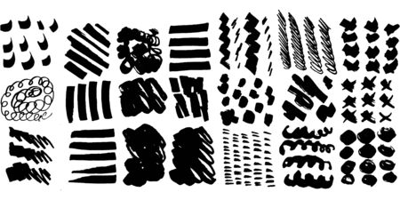Collection with square set of black brush strokes, paint traces, lines, smudges, smears, stains, scribbles isolated on white background. Vector illustration. Illustration