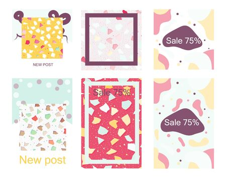 Social media editable posts and stories frames with trendy terrazzo pattern creative backdrop. Chaotic stone pieces on white background. Modern marble textile, tile design vector illustration.