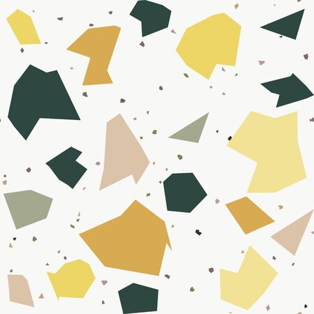Italian flooring in venetian style terrazzo seamless pattern. Granite fragments texture backdrop. Tiling with chaotic natural stones, granite, quartz, marble, glass and concrete. Vector illustration.