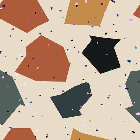 Terrazzo seamless pattern with mosaic stones, granite. Quartz fragments texture backdrop. Italian flooring in Venetian style with natural stone, marble, glass and concrete. Vector illustration. Иллюстрация