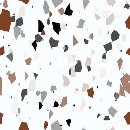 Pastel colors terrazzo seamless pattern. Granite fragments texture backdrop. Italian flooring in Venetian style with natural stone, granite, quartz, marble, glass and concrete. Vector illustration.