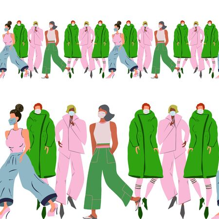 Green and pink endless border with women wearing protective face mask. Latest trend news, fashion bloggers post. Flat cartoon illustration with copyspace on white background. Vector illustration.