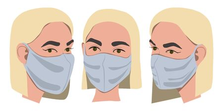 Female with protective medical mask front and profile view. Medical hygiene mask. Virus protection. Vector illustration isolated on white background.  イラスト・ベクター素材