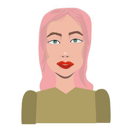 Asian young woman character. Adorable avatar girl portrait. Happy female with pink hair. Vector illustration isolated on white background.  イラスト・ベクター素材