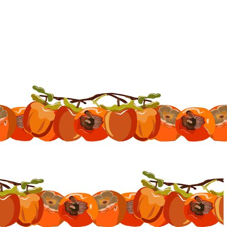 Persimmon whole with leaves seamless horizontal border vector illustration. Set for design, banner, menu, poster.  イラスト・ベクター素材