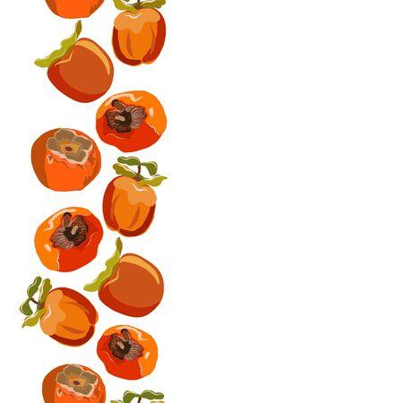 Persimmon hand drawn seamless vertical border vector illustration. Set for design, banner, menu, poster.