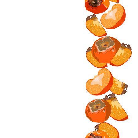 Sharon fruit whole and cut seamless vertical border vector illustration. Set for design, banner, menu, poster.