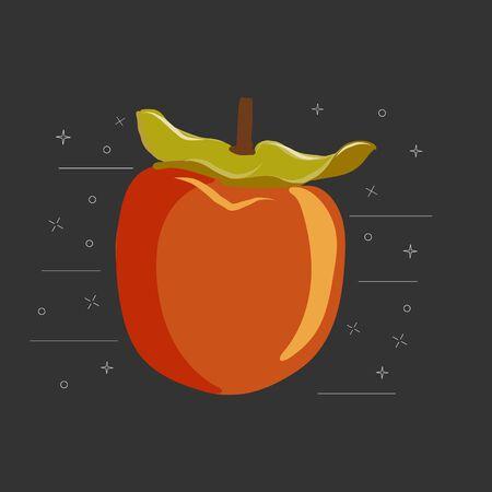 Kaki fruit sliced on black background vector illustration. Orange persimmon whole and cut for design, banner, menu, poster, apparel.