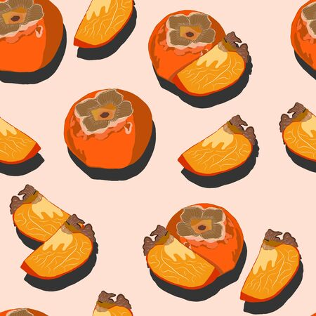 Persimmon whole and slices with shadow pop art seamless pattern on a pink background. Juicy fruit endless pattern vector illustration, design for wallpapers, fabrics, textiles, packaging.