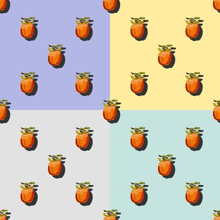 Set of four persimmon with shadow pop art seamless patterns on a turquoise, pink, lilac and yellow background. Pattern vector illustration, design for wallpapers, fabrics, textiles, packaging.