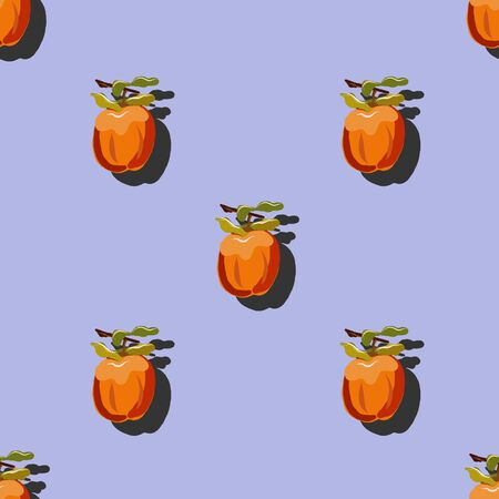 Persimmon with shadow pop art seamless pattern on a lilac background. Juicy fruit endless pattern vector illustration, design for wallpapers, fabrics, textiles, packaging.