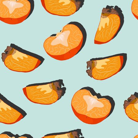 Persimmon slices with shadow pop art seamless pattern on a turquoise background. Juicy fruit endless pattern vector illustration, design for wallpapers, fabrics, textiles, packaging.  イラスト・ベクター素材