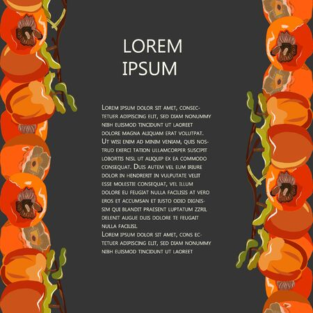 Vertical seamless sharon fruit border with copy space vector illustration. Orange persimmon set for design, banner, menu, poster.