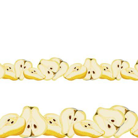 Juicy slices of pear seamless horizontal border vector illustration. Set for design, banner, menu, poster.  イラスト・ベクター素材