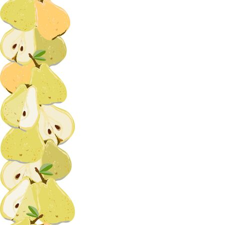 Yellow and orange pears, whole and cut pears seamless vertical border on white background. Summer fruit design set for design, banner, menu, poster, apparel, cards.  イラスト・ベクター素材