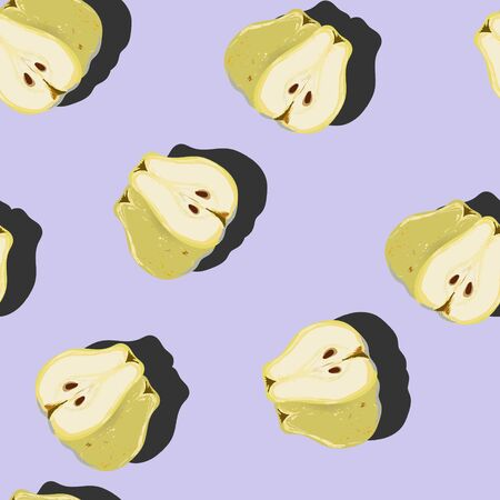 Juicy pear whole and cut top view pop art with shadow seamless pattern on lilac background. Summer fruit endless design for wallpapers, fabrics, textiles, packaging.