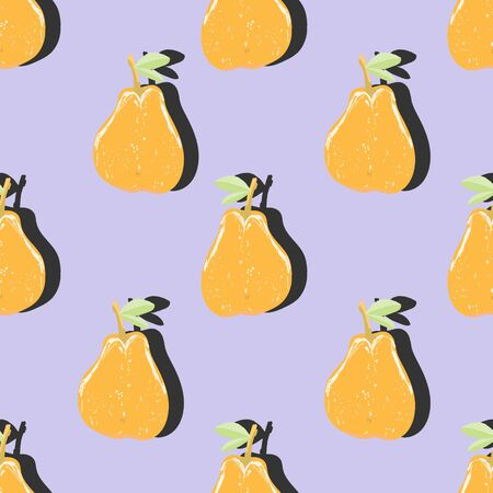 Orange pear top view pop art with shadow seamless pattern on purple background. Summer fruit endless design for wallpapers, fabrics, textiles, packaging.  イラスト・ベクター素材