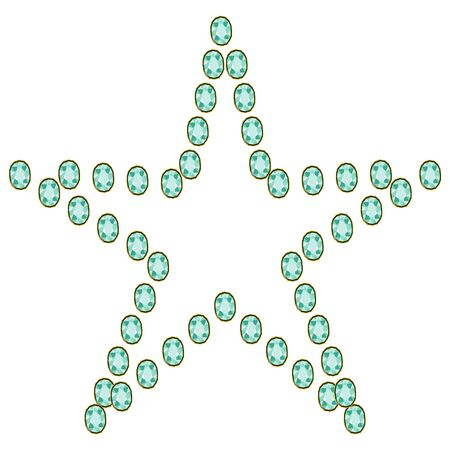 Green emerald diamond gems in star shape isolated on white background. Vector illustration jewels or precious diamonds gem set.