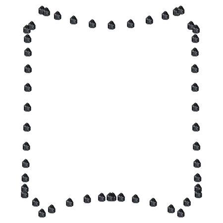 Black shiny diamond crystal jewels in geometrical shape frame isolated on white background. Vector jewels or precious diamonds gem set. Diamonds set vector illustration.