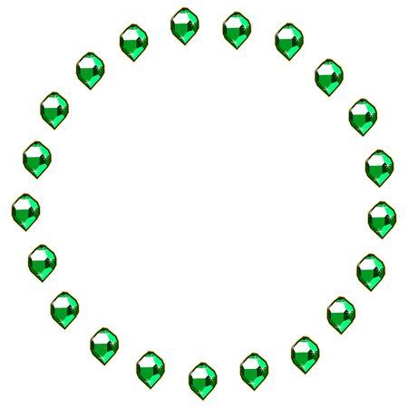 Green emerald gems circle frame isolated on white background. Vector jewels or precious diamonds gem set. Diamonds set vector illustration.