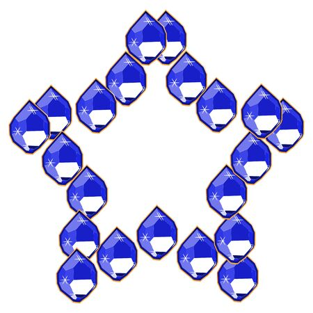 Blue diamond gems in star shape isolated on white background. Vector illustration jewels or precious diamonds gem set.  イラスト・ベクター素材