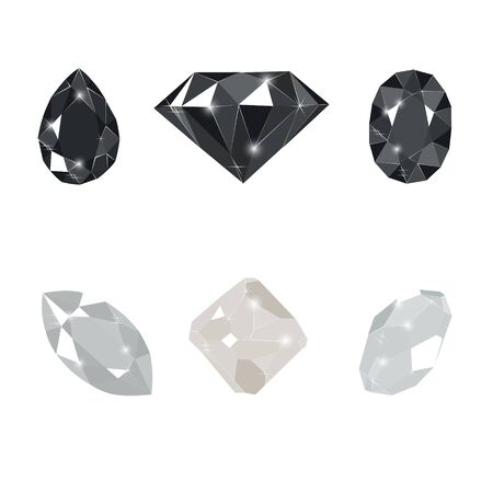 Black and white diamond gems isolated on white background. Vector illustration jewels or precious diamonds gem set. Diamonds set.