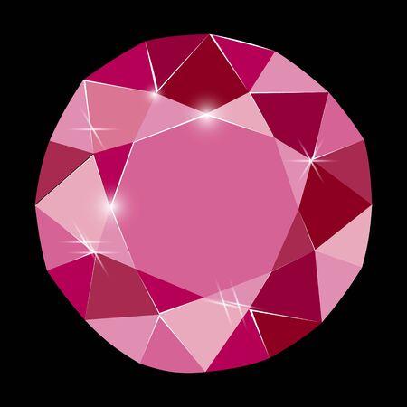 Fancy deep diamond ruby gem isolated on black background. Vector illustration jewel or precious diamond gem.