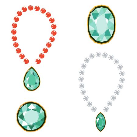 Fancy intense green, ruby and white diamond gems necklace isolated on white background. Vector illustration jewels or precious diamonds gem set. Diamonds set.