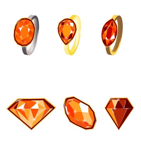 Fancy vivid ruby diamond gems and golden rings isolated on white background. Vector illustration jewels or precious diamonds gem set. Diamonds set.  イラスト・ベクター素材