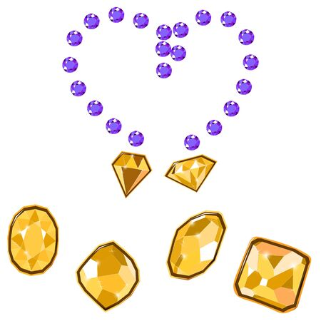 Fancy vivid lilac and yellow diamond gems necklace isolated on white background. Vector illustration jewels or precious diamonds gem set. Diamonds set.  イラスト・ベクター素材