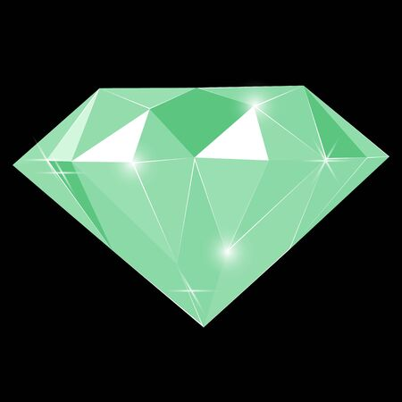Fancy vivid green emerald diamond gem isolated on black background. Vector illustration jewel or precious diamond gem.
