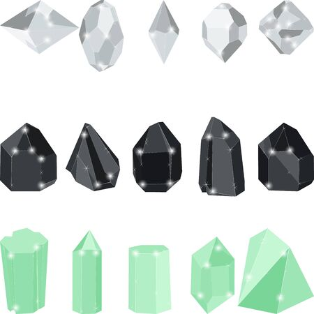 White and black diamonds and green emerald crystal jewels isolated on white background. Vector illustration of diamonds. Ruby, sapphire and diamond isolated gems.
