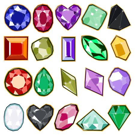 Colorful precious crystal jewels with gold isolated on white background. Vector illustration of diamonds. Ruby, sapphire and diamond isolated gems.