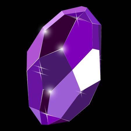 Fancy deep purple crystal gem isolated on black background. Vector illustration jewel or precious diamond gem.