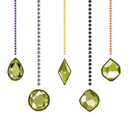 Fancy light green diamond gems and diamond chains isolated on white background. Vector illustration jewels or precious diamonds gem set. Diamonds set.  イラスト・ベクター素材