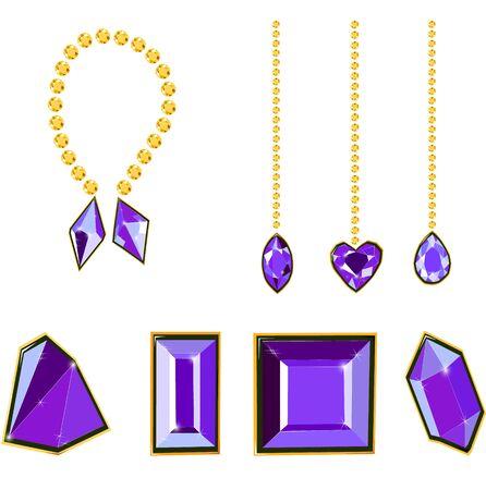 Fancy vivid purple diamond gems and diamond chains isolated on white background. Vector illustration jewels or precious diamonds gem set. Diamonds set. Vectores