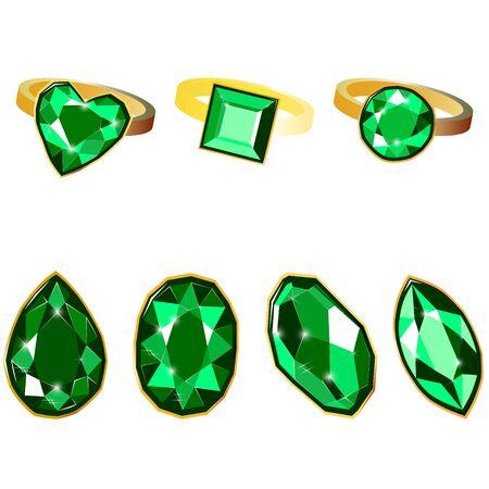 Fancy vivid emerald diamond gems and golden rings isolated on white background. Vector illustration jewels or precious diamonds gem set. Diamonds set.  イラスト・ベクター素材