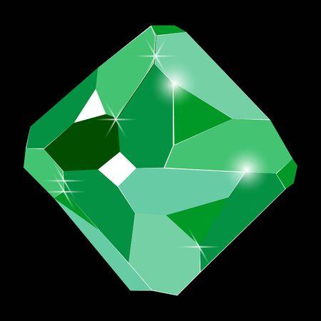Fancy vivid green emerald crystal gem isolated on black background. Vector illustration jewel or precious diamond gem.