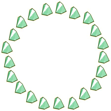 Pail green emerald crystal gems circle frame isolated on white background. Vector jewels or precious diamonds gem set. Diamonds set vector illustration.
