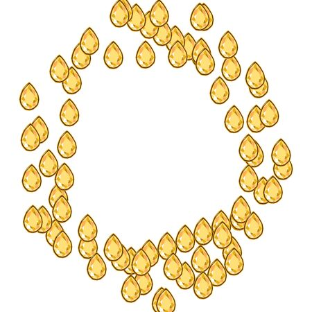 Yellow diamond jewels in circle shape frame isolated on white background. Vector illustration jewels or precious diamonds gem set.