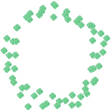 Green emerald diamond jewels in pentagon geometrical shape frame isolated on white background. Vector illustration jewels or precious diamonds gem set.  イラスト・ベクター素材
