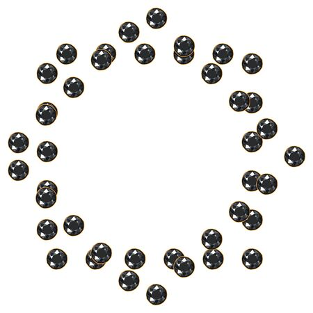 Black shiny diamond gems circle frame isolated on white background. Vector jewels or precious diamonds gem set. Diamonds set vector illustration.