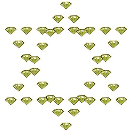 Fancy light green diamond jewels in circle shape frame isolated on white background. Vector illustration jewels or precious diamonds gem set.
