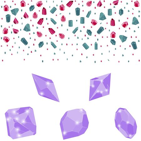 Colorful precious crystal jewels border and lilac gems isolated on white background. Vector illustration of diamonds. Ruby, sapphire and diamond isolated gems.  イラスト・ベクター素材