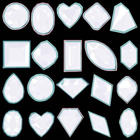 White diamond gems isolated on black background. Vector illustration jewels or precious diamonds gem set. Diamonds set.